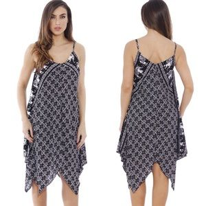 Dresses & Skirts - Handkerchief Hem Elephant Print Cami Midi Dress